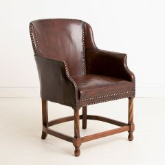 Walnut Club Chair with Original Brown Leather Upholstery c.1910